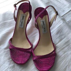 Snakeskin Jimmy Choo slingback strappy heels